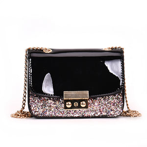 Fashion Shimmer Faux Leather Women Shopping Crossbody Clutch Bag Chain Gift
