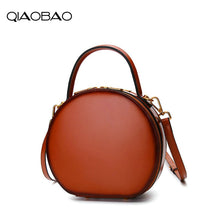 Load image into Gallery viewer, Leather handbags 2018 new Messenger bag female leather bag spring and summer fashion handbag small Totes round package