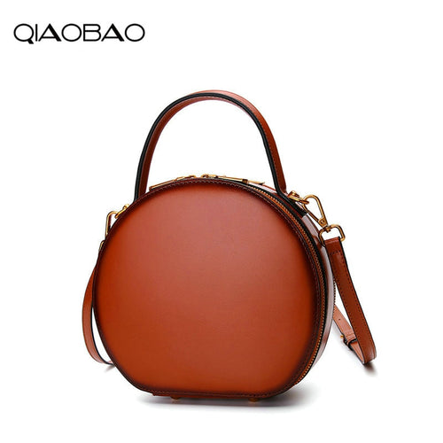 Leather handbags 2018 new Messenger bag female leather bag spring and summer fashion handbag small Totes round package