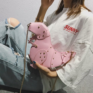 INS Fashion Dinosaur Rivet Messenger Chain Shoulder Bag Sweet Cute Girl Pink Bag Handmade Small Travel Bags Crossbody Bags