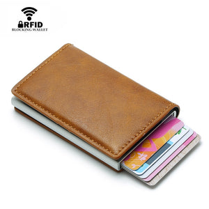 DIENQI Top Quality Wallet Men Money Bag Mini Purse Male Vintage Automatical Aluminium Rfid Card Holder Wallet Small Smart Wallet