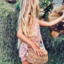 Load image into Gallery viewer, Women wintage rattan beach straw bag Children's rattan shoulder messenger bamboo basket bag