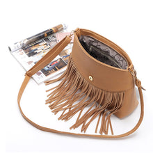 Load image into Gallery viewer, Europe Leisure Splicing National Wind Restoring Ancient Way Tassel Fringe Bag Shoulder Inclined Messenger Crossbody Handbag
