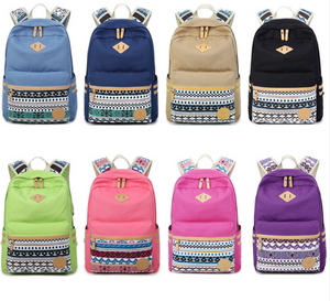 Shoulder bag female Korean canvas student bag national wind travel backpack computer bag ladies college wind tide