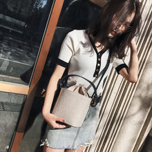 Load image into Gallery viewer, Linen pumping bucket bag portable dual-use female bag women's shoulder bag