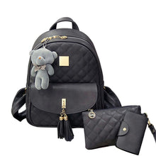 Load image into Gallery viewer, PU Bear Backpack Women Bag Diamond Lattice School Bags