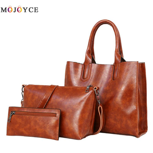 3 Pcs/Set Oil Wax Leather Women Bag Leather Handbags Casual Female Bags Trunk Tote Spanish Brand Shoulder Bag