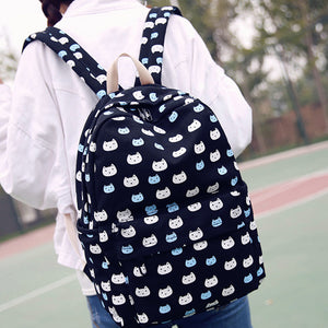 Cartoon Cat Print Canvas Backpack Travel School Shoulder Bag with Small Wallet