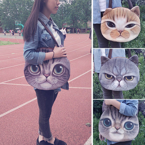Women's Cute Cat Face Zipper Shoulder Bag Tote Pussy Shopping Handbag Buggy Bag