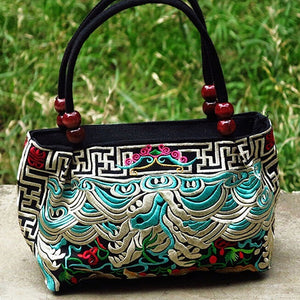 Double-Sided Canvas Flower Print Embroidery Ethnic Style Retro Handbag Small Bag