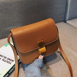 European Retro Fashion Ladies Square bag 2018 New Quality PU Leather Women's Handbag Simple Leisure Lock Shoulder Messenger Bags