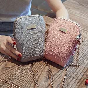Women Girl Faux Leather Cross Body Shoulder Phone Zipper Chain Mini Bag Gift