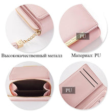Load image into Gallery viewer, Fashion Tassel Zipper Short Wallet Female PU Coin Purse For Girls Small Leather Women Wallets Credit Card Pocket