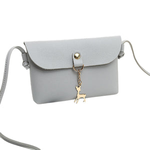 Fashion Women Mini Faux Leather Crossbody Shoulder Bag with Cartoon Deer Pendant