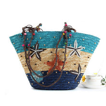 Load image into Gallery viewer, Straw Bag Fashion Women Shoulder Bags Large Capacity Beach Bag Wheat Pole Weave Handbag Starfish Ladies Tote