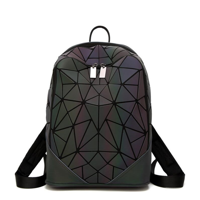 Luminous Irregular Triangle Sequin Backpack for Women Fashionable Rucksack Female Backbag Korean
