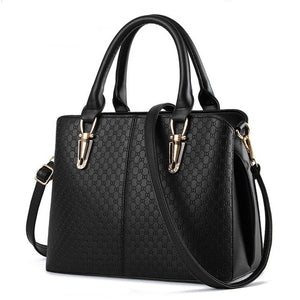 Women leather handbags New handbag solid black shoulder single oblique cross ladies bag