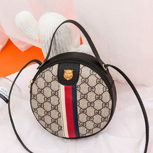 Women Shoulder Bags Tiger Head PU Leather Handbags Bags Ladies Party Fashion Round Popular Shape Printing Girls Crossbody Bag