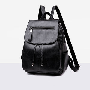Retro Women Girls Zipper Faux Leather Backpack Large Capacity Shoulders Bag