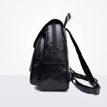 Load image into Gallery viewer, Retro Women Girls Zipper Faux Leather Backpack Large Capacity Shoulders Bag