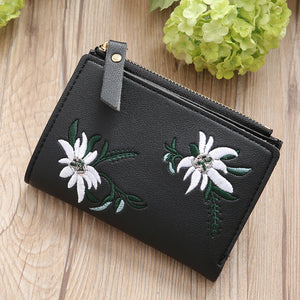 Embroidery Flower Faux Leather Women Girl Coin Purse Card Holder Short Wallet