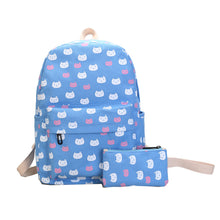 Load image into Gallery viewer, Cartoon Cat Print Canvas Backpack Travel School Shoulder Bag with Small Wallet