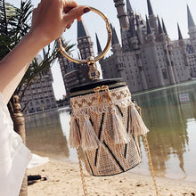 Load image into Gallery viewer, Summer Fashion New Handbag High quality Straw bag Women bag Round Tote bag Hand Metal Ring Tassel Chain Shoulder Travel bag