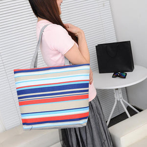 Fashion Canvas Striped Rainbow Prints Shoulder Tote Bag Women Casual Handbag