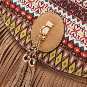 Europe Leisure Splicing National Wind Restoring Ancient Way Tassel Fringe Bag Shoulder Inclined Messenger Crossbody Handbag