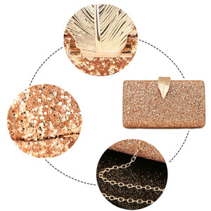 Sequined Clutch Women's Evening Bags Bling Day Clutches Gold Color Metal Leaf Lock Wedding Purse Female Handbag