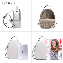 Load image into Gallery viewer, Sendefn Backpack Split Leather Women School Quality Bag Shoulder  Youth