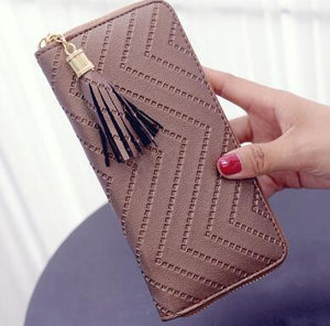 ISKYBOB Women Long Wallet Lady Leather Wallet Clutch Handbag Checkbook Purse Tassel Purse Women Long Leather Wallet