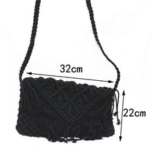 Load image into Gallery viewer, Tassel straw bag large clamshell cotton hand-woven casual female beach bag Knitted Messenger Bags