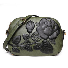 Load image into Gallery viewer, Embossed Rose Flower Vegan Leather Crossbody Shoulder Bags For Women
