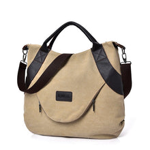 Load image into Gallery viewer, Summer Women Canvas Zipper style Shoulder Beach Bag Female Casual Tote Shopping Big Bag Messenger Bags