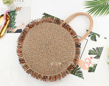 Load image into Gallery viewer, Tassel Handbag High quality Straw bag Women beach woven bag Round Tote fringed beach wovenShoulder Travel bag