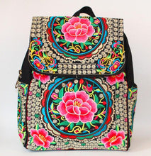 Load image into Gallery viewer, Vintage Embroidery Ethnic Canvas Backpack Women Handmade Flower Embroidered Travel Bags Schoolbag Backpacks