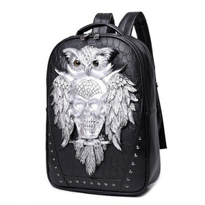 3D Owl Skull Embossing Rivet Black Purse Satchel Man Backpack Halloween Stylish Cool PU Leather laptop Travel Soft Bags