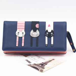 Envelope Women Wallet Cat Cartoon Wallet Long Creative Female Card Holder PU Wallet Coin Purses Girls
