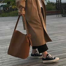 Load image into Gallery viewer, Fashion all-match bucket bag simple style pu leather one shoulder women's handbags female bag