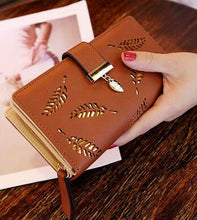 Load image into Gallery viewer, Mara's Dream 2018 Brand Leaves Hollow Women Wallet Soft PU Leather Women's Clutch Wallet Female Designer Wallets Coin Card Purse