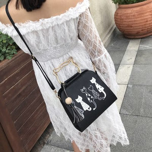 Cartoon four cats shoulder diagonal cross bag mobile handbags wooden beads tassel bag