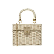 Load image into Gallery viewer, New rattan black straw Shoulder Bag Women hand-woven Messenger Bag Summer Beach Square box Straw Handbag For lady Bolsa Feminina