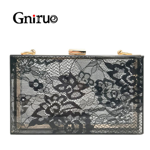 Female Delicate Lace Acrylic Clutch Bags Women Chain Shoulder Crossbody Bag Fashion Transparent Evening Bag Handbags