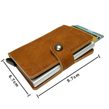 Load image into Gallery viewer, RFID Protected Vintage Automatic Leather Credit Card Holder Men Aluminum Alloy Hasp Business ID Multifunction Cardholder Wallet