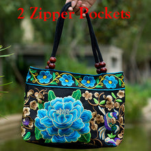 Load image into Gallery viewer, Vintage Embroidery Boho Womens Handbag Mandala Flower Embroidered Totes Travel Beach Bag