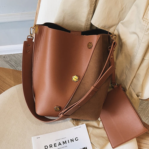 Burminsa Suede Bucket Women Shoulder Messenger Bags Sets Vintage Wide Strap Ladies Handbags Patchwork Female Crossbody Bags