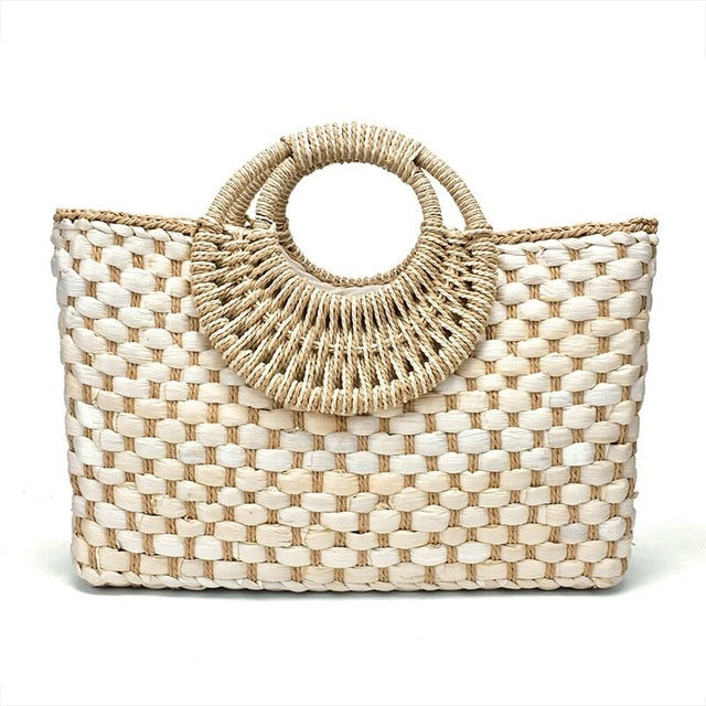 Hand basket shopping bag Black color Bali Island Hand Woven Bag Butterfly buckle Straw Bags Satchel Wind Bohemia Beach Bag