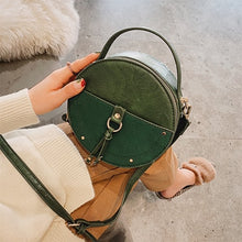 Load image into Gallery viewer, Vintage Scrub Leather Round Designer Crossbody Bag For Women 2019 PU Leather Shoulder Bags Ladies Small Handbags Mini Tote Bag