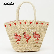 Load image into Gallery viewer, Fashion Embroidery Women's HandBag Large Straw Shoulder Bag Fashion Flamingo Beach Bags Big Tote Woven Bag Tote Bags